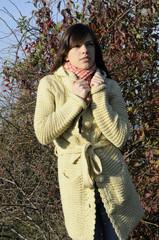 model posing in fall season
