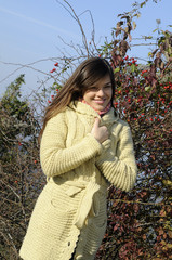 happy model smiling in fall season