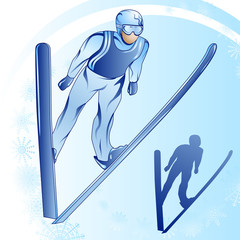 Stylized illustration of jamped skier on a blue background