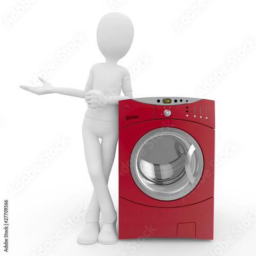 3d man with washing machine
