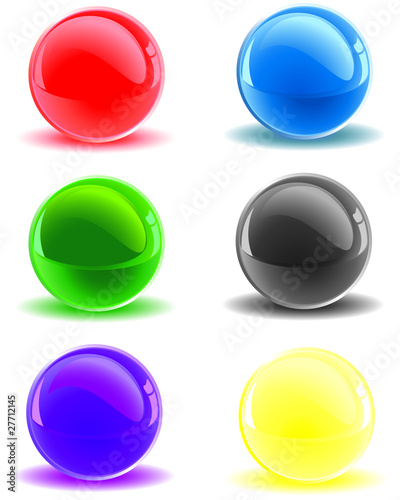 Collection of colorful glossy 3D sphere in different colors