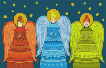 Three Angels Greeting Card