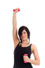 exercising young woman with pink fitness weights