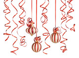 christmas ribbons and balls isolated over white background