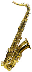 Golden saxophone isolated with clipping path