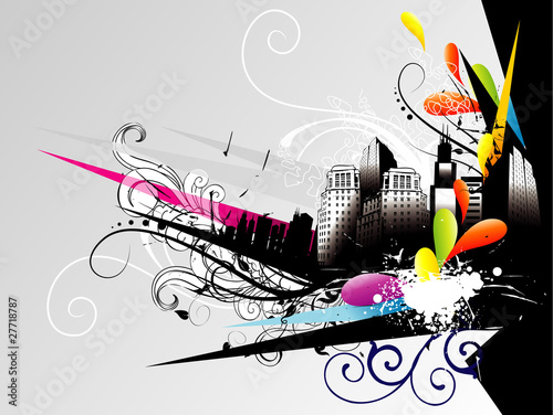 grunge abstract city vector