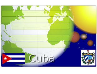 Cuba business card globe flag coat