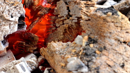 Red-hot wood and coal