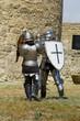 Medieval european knight near citadel wall
