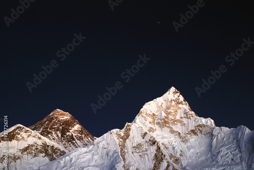Everest and Nuptse lit by moonlight