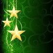 Golden stars on dark green background