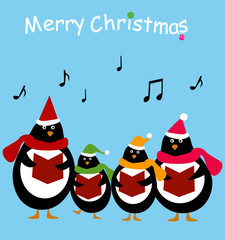 group of singing penguin Christmas Carolers