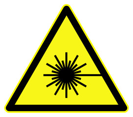 Symbol for Laser warning sign on yellow triangle