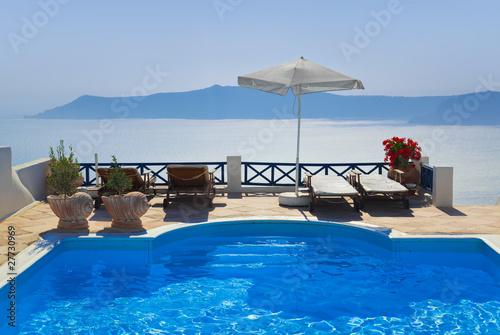 Water pool at Santorini, Greece