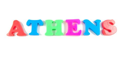 athens written in fridge magnets