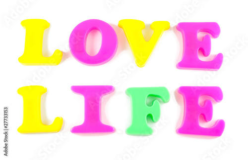 love life written in fridge magnets