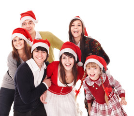 Group people with children in santa hat . Isolated.