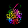 Multicolored Christmas  ball made of snowflakes and stars on bla