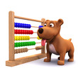 3d Small dog guards the abacus