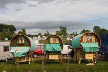 Gipsies caravans on the field