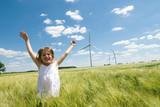 Girl and Windfarm