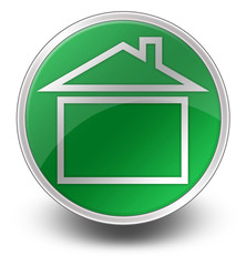 "Green Glossy Icon ""Home / Home Page / House"""