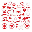 30 vector of red hearts for valentines love