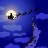 Santa Claus with reindeers flying over America