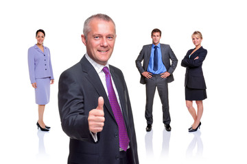 Business team thumbs up isolated