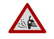 Photo realistic 'loose chippings' warning sign, isolate on white