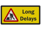 Photo realistic 'long delays' road sign, isolated on white
