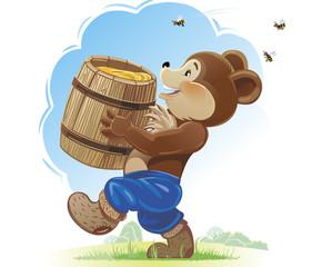 Bear cub and honey
