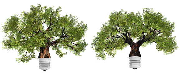 High resolution conceptual green trees as a lamps isolated