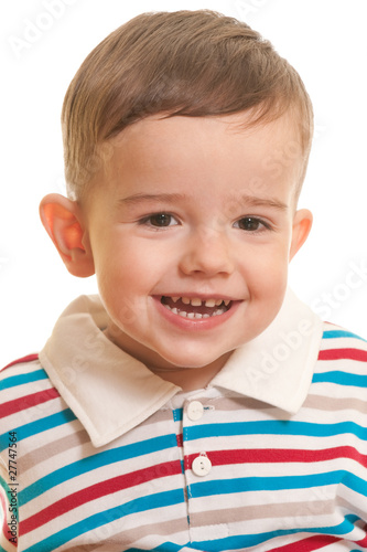 Closeup portrait of a cheerful toddler