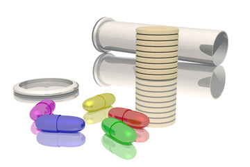 Vial and colored tablets and pills