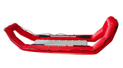 Red Inflatable Lifeboat isolated. Clipping path included