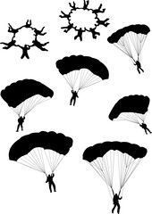 illustration of sky divers silhouettes - vector