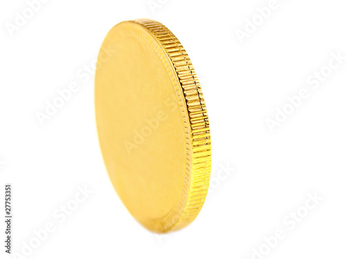 gold chocolate coin isolated on white background