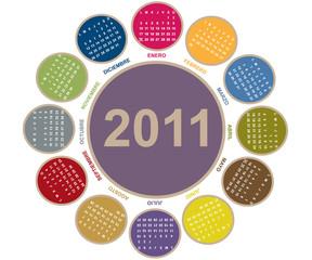 Calendario 2011 con forma de flor
