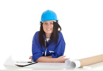 lady architect with blueprint