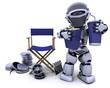 robot with popcorn and soda with directors chair