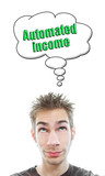 Young man thinks about automated income poster