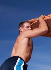 Athletic rock climber