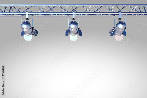 chrome, silver stage lighting
