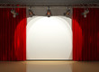 stage with stage lighting and red curtains