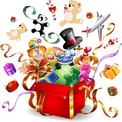 Regalo Dono Giocattoli-Toys Gifts-Vector