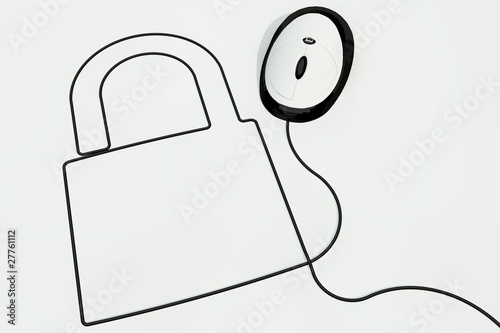 lock drawn with computer mouse wire
