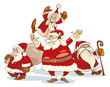 four santa clauses group