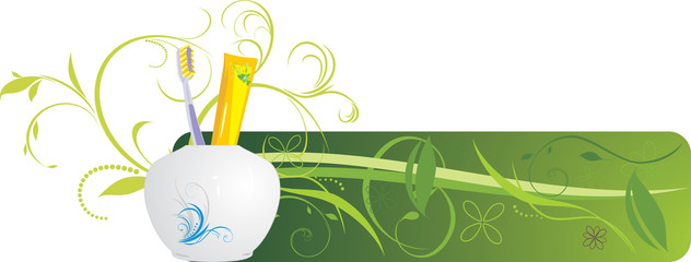 Tooth brush and paste. Decorative banner. Vector