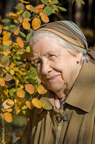 Beautiful portrait of an elder woman outdoors